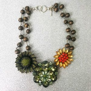 Fossil Floral Statement Necklace